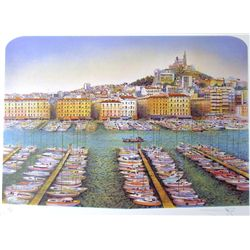 ARCHITECTUAL MEDITERRANEAN HARBOUR COLORFUL LITHOGRAPH