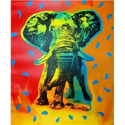 POP ART CANVAS ORIGINAL ELEPHANT COLORFUL ESTATE SALE