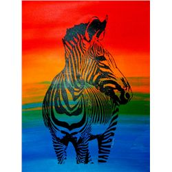 ONLY $100 ORIGINAL ARTWORK CANVAS ZEBRA POP COLORFUL