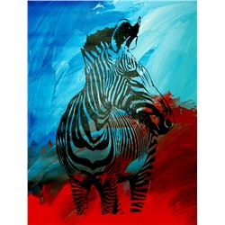 COLORFUL POP ART CANVAS ORIGINAL ZEBRA ART SALE ONLY $100