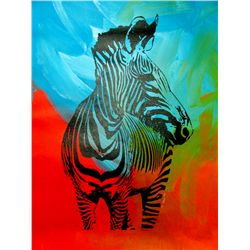 ZEBRA POP ART ORIGINAL CANVAS PAINTING ESTATE LIQUIDATION
