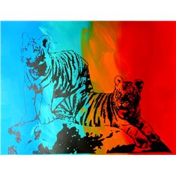 COLORFUL POP ART CANVAS ORIGINAL TIGERS ART SALE ONLY $100