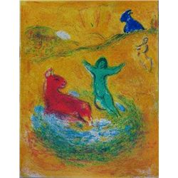 THE SACRIFICE MARC CHAGALL COLORFUL ORIGINAL LITHOGRAPH RARE