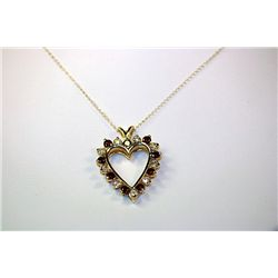 Fancy 14 kt Yellow Gold  HEART  Pigeon Blood Ruby & Diamonds pendant & necklace.