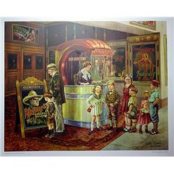 Lithograph  Saturday Afternoon at the Movies  by artist Lee Dubin