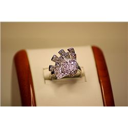 Lady's Fancy 14kt White Gold White Sapphire Ring