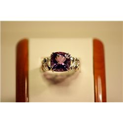Very Fancy Unisex Silver Cushion Shape Amethyst &amp; Diamond Ring