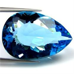 MASSIVE 31.10 CTS NATURAL BRAZILIAN PEAR SHAPED BLUE TO