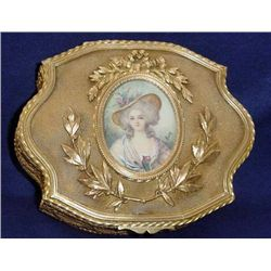 BRONZE PORTRAIT MINIATURE SIGNED JEWELRY BOX FRENCH