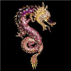 Swarovski Crystal Chinese Dragon Brooch Pin