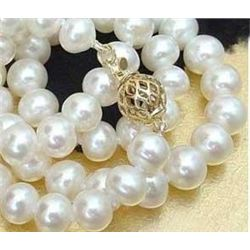 Exquisite 8-9mm REAL white cultured pearl necklace 18in
