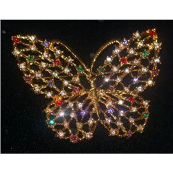 Swarovski Crystal and Gold Filigree Butterfly Brooch