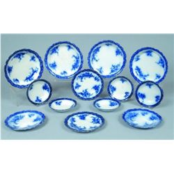 Thirteen Pieces Flow Blue Ironstone Tableware