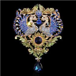 HUGE 4.5inch Swarovski Crystal Phoenix Drop Brooch Pin
