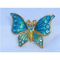 Beautiful Rhinestone and Enamel Butterfly Brooch
