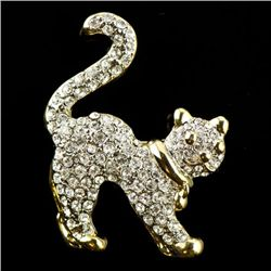 Faberge Style Crystal Cat Brooch