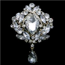 Swarovski Crystal Flower Pendant Brooch Pin