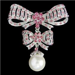 Pink Swarovski Crystal and Pearl Drop Knot Brooch Pin