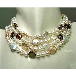 Gorgeous genuine coin pearl necklace 80in