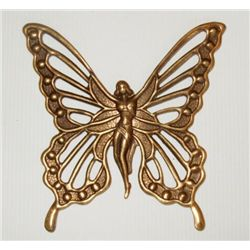 Vintage Brass Victorian Winged Fairy Brooch