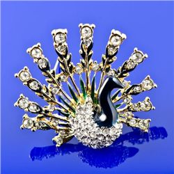 Faberge Style Peacock Brooch