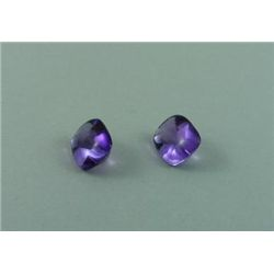 Pair Genuine Cushion Cabochon Cut Brazilian Amethysts 3