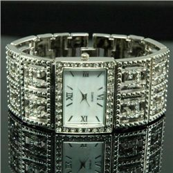 Lovely Ladies Silver Tone & Crystal Cuff Bangle watch w