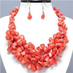 Amazing Cluster Coral Necklace and Earrings Set
