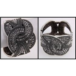 MARCASITE ART DECO CRYSTAL CUFF BANGLE BRACELET mwf212