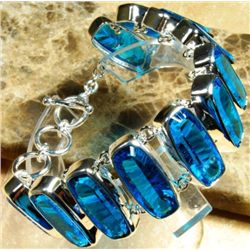 Exquistie Blue Topaz and Sterling Silver Bracelet