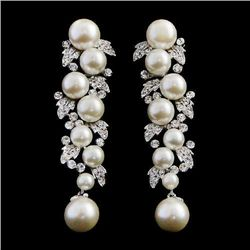 Art Deco Swarovski Crystal and Pearl dangle earrings