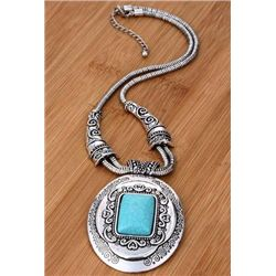 Silver and oval turquoise bead chain necklace