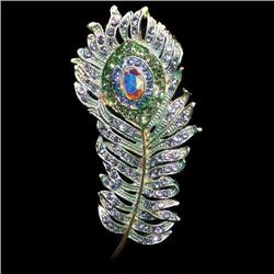 Exquisite Swarovski Crystal Peacock Plume Brooch Pin