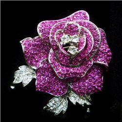 Gorgeous Fuchsia Swarovski Crystal Rose Flower Pin Broo