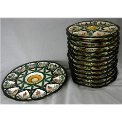 Unusual Thirteen Piece Majolica Oyster Set