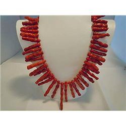 FINE RED CORAL BRANCH NECKLACE MWF1728