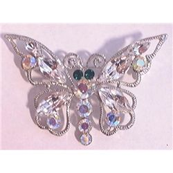 Vintage rhinestone butterfly brooch measures approx 2