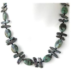 Elegant Handcrafted Green and Blue Turquoise bead and P