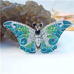 Elegant Green and Blue Swarovski Crystal Butterfly Broo