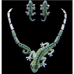 Remarkable Swarovski Crystal Gecko Necklace and Earring