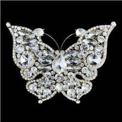 Charming Clear Swarovski Crystal Butterfly Brooch Pin P