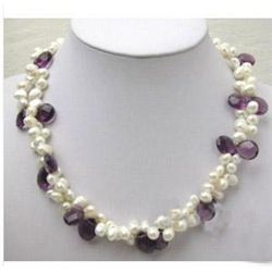 Beautiful white Freshwater pearl Amethyst Necklace MWF