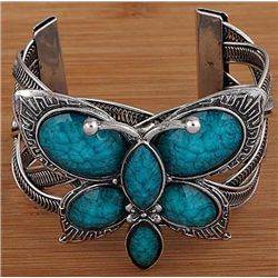 Turquoise and Silver Bangle Cuff Bracelet mwf2026