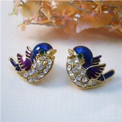 Adorable Swarovski Crystal Bluejay Earrings.