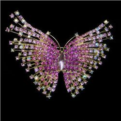 Unusual Pink Swarovski Crystal Butterfly Brooch Pin