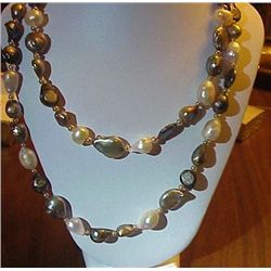 GRAY BEIGE FRESH WATER PEARLS SILVER COINS TWO STRANDS
