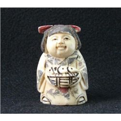 MWF1542J Handcarved Ox Bone Netsuke Figure