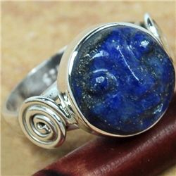 HANDCARVED LAPIS FACE SET IN STERLING SILVER RING SIZE