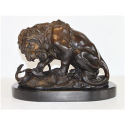 Majestic Bronze Sculpture Fighting Lion & Serpent