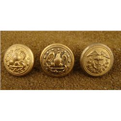 3 Civil War Naval Org Gilt Button Meyer Reeds Waterbury